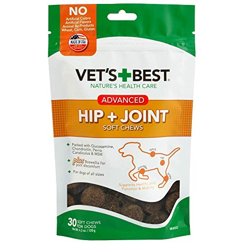 Vet's Best Hip & Joint Soft Chews Dog Supplements, 30 Day Supply (Advanced Formula- 2 Pack)