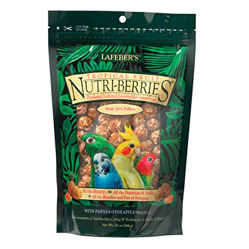 LAFEBER'S Tropical Fruit Nutri-Berries Pet Bird Food, Made with Non-GMO and Human-Grade Ingredients, for Cockatiels Conures Parakeets (Budgies) Lovebirds, 10 oz