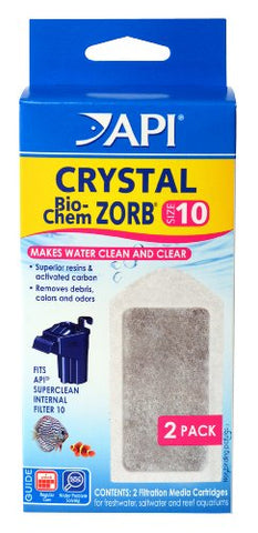 API CRYSTAL BIO-CHEM ZORB SIZE 10 Aquarium Filtration Media Cartridges for API SUPERCLEAN 10 2-Count Box