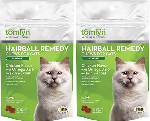 (2 Pack) TOMLYN Laxatone Soft Chews Hairball Formula Cat Treat (60 Count / 3.17oz / 90g Per Pack)