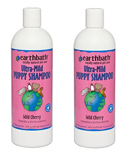 Earthbath Ultra-Mild Tearless Puppy Wild Cherry Shampoo for Sensitive Skin 16 ounce (2 Pack)