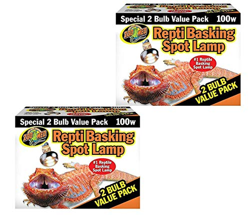 Zoo Med Basking Spot Lamps 100 Watt - 4 Total Bulbs (2 Packs with 2 per Pack)