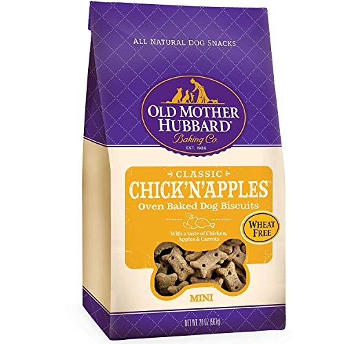 Old Mother Hubbard Crunchy Classic Natural Dog Treats, Chick'n'Apples, Small Biscuits, 20-Oz Bag/2PK