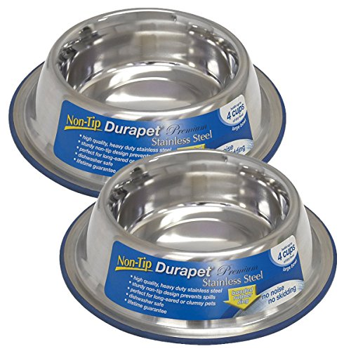 OurPets DuraPet Premium No-Tip Stainless Steel Pet Bowls, Large (2 Pack)
