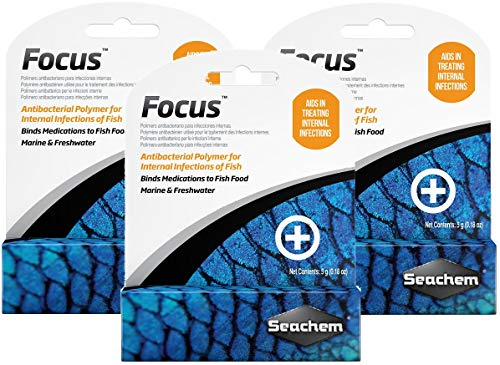 Seachem 3 Pack of Focus Freshwater and Marine Fish Medication, 5 Grams Per Pack