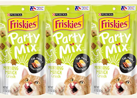 3 Bags of Friskies Party Mix Crunch Morning Munch Cat Treats, 2.1-oz ea