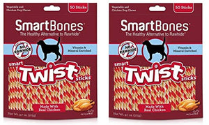 SmartBones Smart Twist Sticks Chews for Dogs, Rawhide-Free (100-Count Chicken)