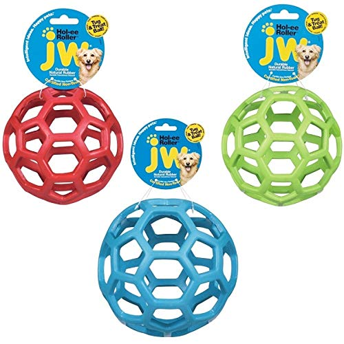 JW Hol-ee Roller Original Treat Dispensing Dog Ball - Hard Natural Rubber - Assorted Colors, Mini