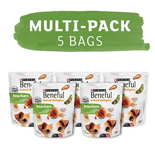 Purina Beneful Made in USA Facilities Dog Training Treats, Baked Delights Snackers - (5) 9.5 oz. Pouches