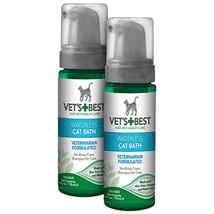 Vet's Best No-Rinse Clean Waterless Cat Shampoo. Natural Formula, 8 oz