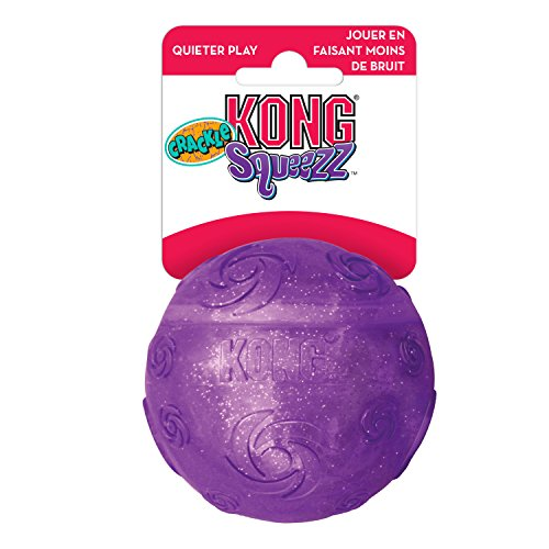 KONG - Squeezz Crackle Ball - Strong Indoor/Outdoor Dog Toy - For X-Large Dogs (Assorted Colors)