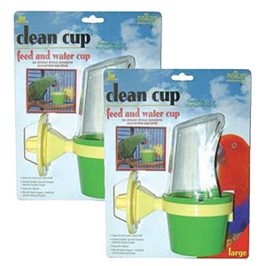 JW Pet Company Clean Cup Feeder and Water Cup Bird Accessory, Large (2 Pack)