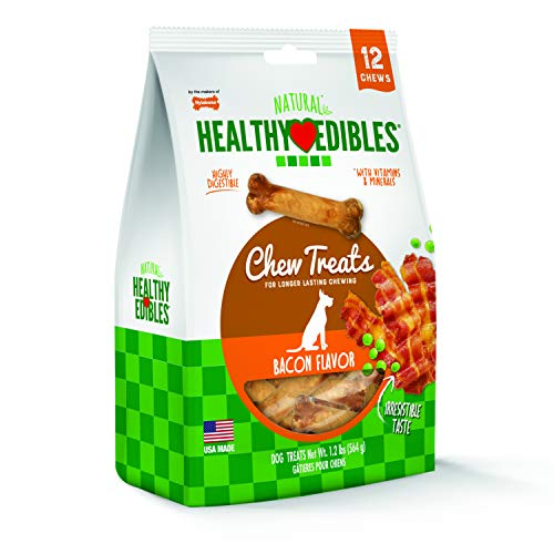 Nylabone Healthy Edibles Bacon Flavored Dog Treats | All Natural Grain Free Dog Treats Made In the USA Only | Small & Large Dog Chew Treats | 12Count