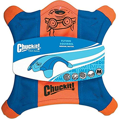 ChuckIt! Flying Squirrel Spinning Dog Toy, Medium (Orange/Blue)