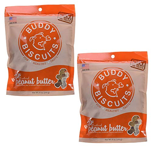 BUDDY BISCUITS Soft and Chewy Dog Treats w/Peanut Butter - 6oz. (Pack of 2)