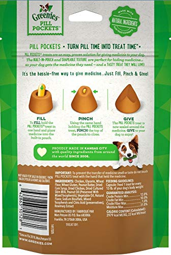 Greenies Pill Pockets Dog Treats, Peanut Butter, Large for Capsules, 30 Count, 6 Pack
