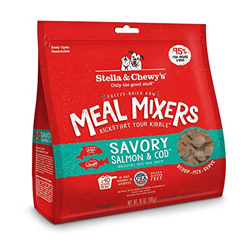 Stella & Chewy's Freeze-Dried Raw Savory Salmon & Cod Meal Mixers Dog Food Topper, 18 oz bag (Pack of 2)