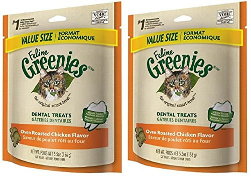 Feline Greenies Dental Treats Oven Roasted Chicken for Cats 5.5 oz,Pack of 2