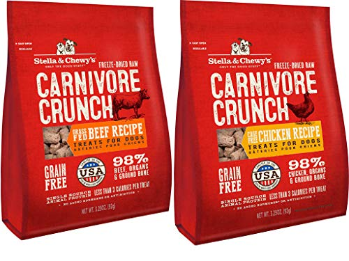 Stella & Chewy's Carnivore Crunch Freeze-dried Dog Treats 2 Flavor Variety Bundle: (1) Cage-free Chicken Recipe and (1) Cage-free Beef Recipe, 3.25 Oz Each (2 Bags Total)
