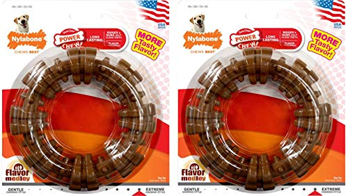 Nylabone Dura Chew Plus Textured Ring Dog Chew (Large - Flavor Medley - Pack of 2)