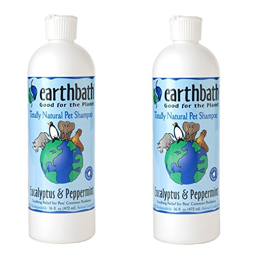 Earthbath Totally Natural Eucalyptus & Peppermint Dog & Cat Shampoo 16 ounce (2 Pack)