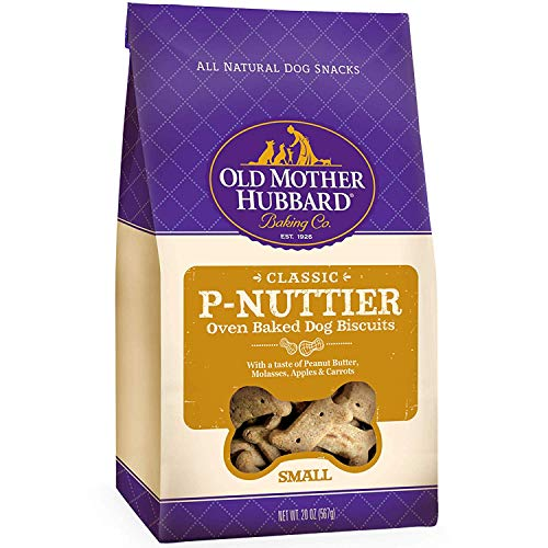 Old Mother Hubbard Crunchy Classic Natural Dog Treats, P-Nuttier, Small Biscuits, 20-Ounce Bag/2 Pk