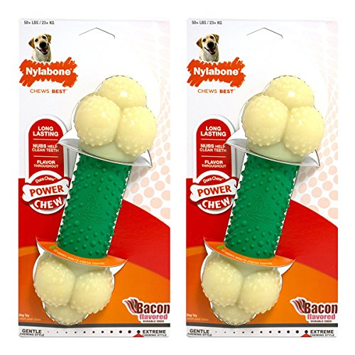 Nylabone Dura Chew Souper Bacon Flavored Double Action Bone Dog Chew Toy