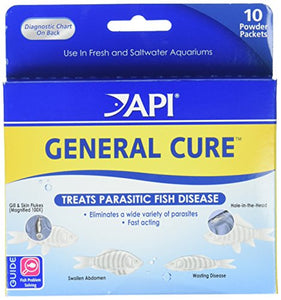 API General Cure Freshwater and Saltwater Fish Powder Medication 10-Count Box