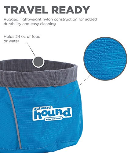 Outward Hound Port-A-Bowl Collapsible Travel Dog Food and Water Bowl