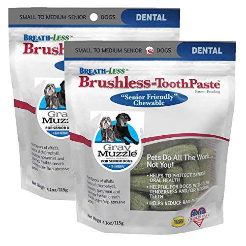Ark Naturals Breath-Less Brushless Toothpaste, Vet Recommended Natural Dental Chews for Dogs, Plaque, Tartar and Bacteria Control