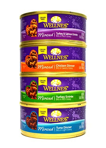 Wellness Minced Grain-Free Wet Cat Food Variety Pack - 4 Flavors (Tuna, Turkey, Chicken, and Turkey & Salmon) - 12 (5.5 Ounce) Cans - 3 of Each Flavor