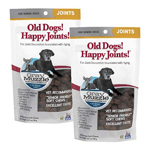 ARK NATURALS Gray Muzzle Old Dogs! Happy Joints! Dog Chews, Vet Recommended for Senior Dogs, Alleviates Joint Discomfort and Supports Mobility with Glucosamine, Chondroitin and Turmeric, 180 ct