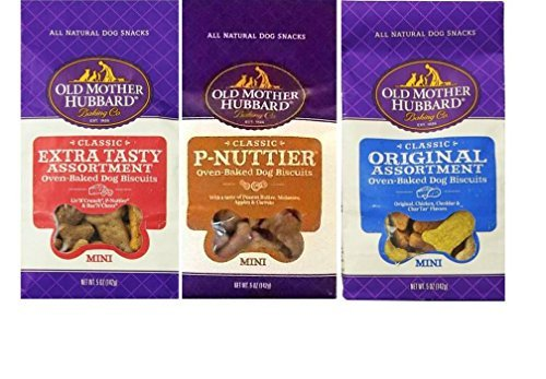 Old Mother Hubbard All Natural Oven-Baked Mini Dog Biscuits 3 Flavor Variety Bundle: (1) Classic Original Assortment, (1) Classic P-Nuttier, and (1) Classic Extra Tasty Assortment, 5 Oz. Ea. (3 Bags)