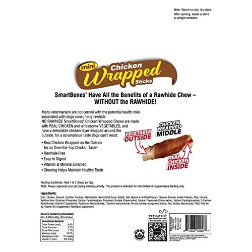SmartBones Mini Chicken-Wrapped Sticks for Dogs, Rawhide-Free