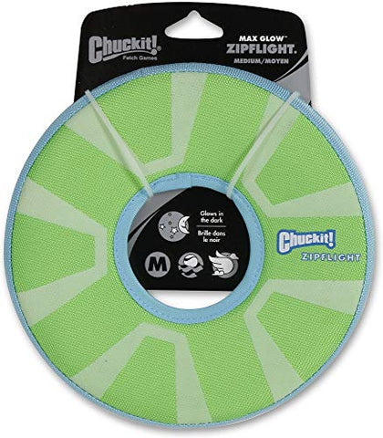 Chuckit! ZipFlight Max Glow Frisbee Dog Toy Bright Playtime at Night 2 Sizes