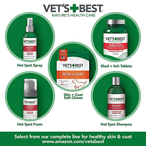 Vet's Best Dog Hot Spot Itch Relief Spray |  Relieves Dog Dry Skin, Rash, Scratching, Licking, Itchy Skin, and Hot Spots | No-Sting and Alcohol Free | 8 Ounces