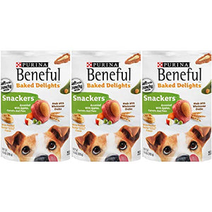 3 Bags of Purina Beneful Baked Delights Snackers with Apples, Carrots, Peas & Peanut Butter Dog Treat 9.5 oz ea