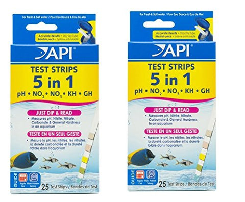API 5-IN-1 TEST STRIPS Freshwater and Saltwater Aquarium Test Strips, JYlCzP 50 Count