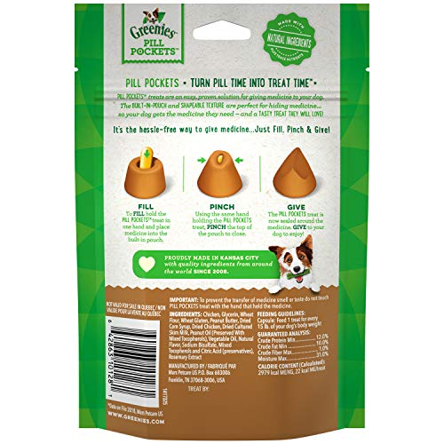 GREENIES Pill Pockets Natural Dog Treats, Capsule Size, Peanut Butter Flavor