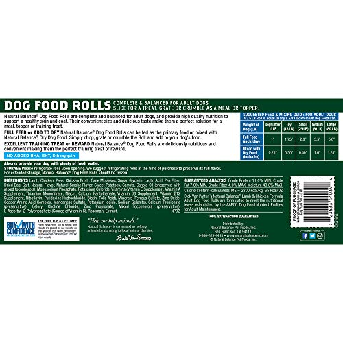 Natural Balance Dog Food Roll, Lamb & Chicken Formula, 3.5-Pound