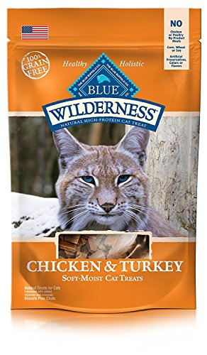 BLUE Wilderness Grain-Free Soft-Moist Cat Treats, Chicken and Turkey, 4 oz