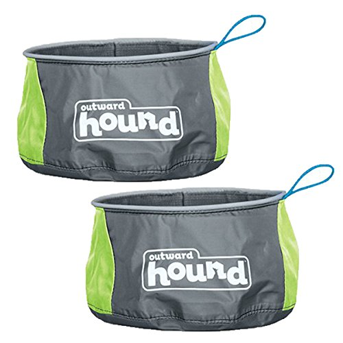 Outward Hound Port-A-Bowl Collapsible Travel Dog Food and Water Bowl (2 Pack)