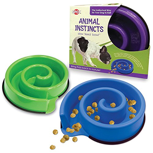 Ethical Pets Animal Instincts Slow Feed Dog Bowl, Purple (2 Pack)