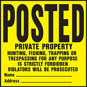 "Hy-Ko YP-1 11"" X 11"" Plastic Private Property Sign, Yellow, Pack of 20"