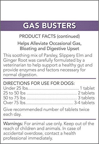 Vet's Best Gas Busters Dog Supplements for Gas Relief and Digestion Aid, 180 Chewable Tablets, USA Made