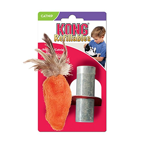 KONG - Refillables Carrot with Feather Top Catnip Toy - North American Premium Catnip