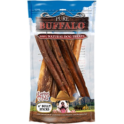 Loving Pets Pure Buffalo 6-Inch Bully Stick Dog Treat, 6-Pack