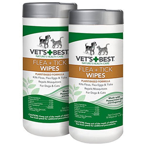 Vet's Best Flea and Tick Wipes for Dogs and Cats | Targeted Flea & Tick Application | Multi-Purpose Flea Treatment for Dogs and Cats | 50 Wipes (2 Pack)