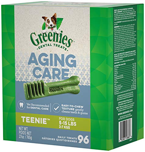 GREENIES Aging Care TEENIE Natural Dog Dental Care Chews Oral Health Dog Treats, 27 oz. Pack (96 Treats)