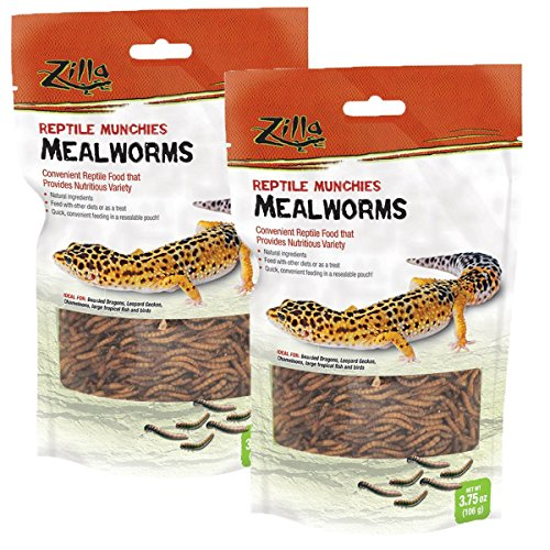 Zilla Reptile Food Munchies Mealworm, 3.75-Ounce